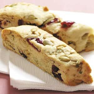 Pumpkin Seed Cranberry Biscotti Recipe from Taste of Home