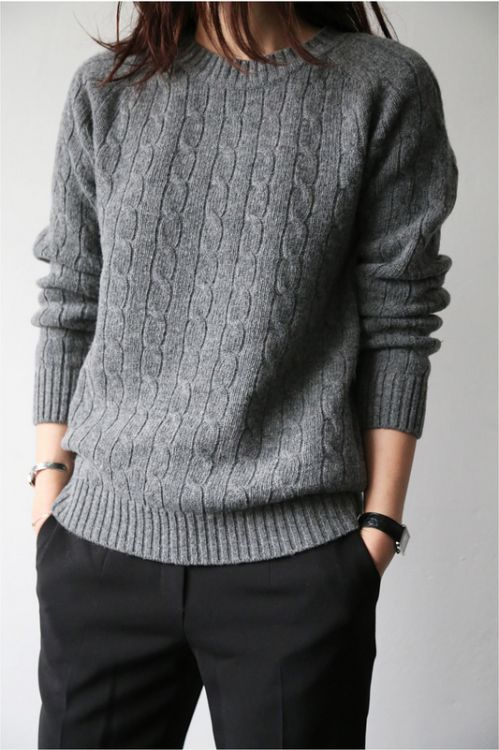 Grey Sweater Black Pants: