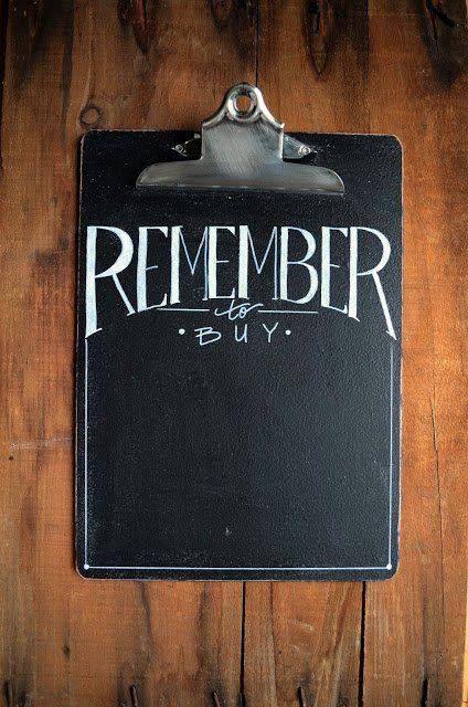 "#DIY #Chalkboard Clip Board - Perfecto!!  Now I can erase their ""love"" scrawlings"