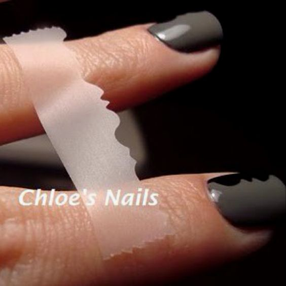 sooo simple ! -patterned nails with tape and creative cutting scissors!