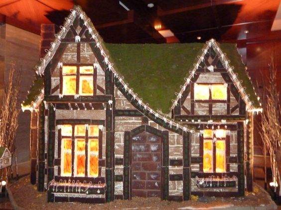 Gingerbread house with lighted windows