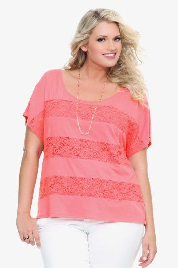 Torrid Plus Size Twist Tees - Coral Lace Inset Striped Tee
