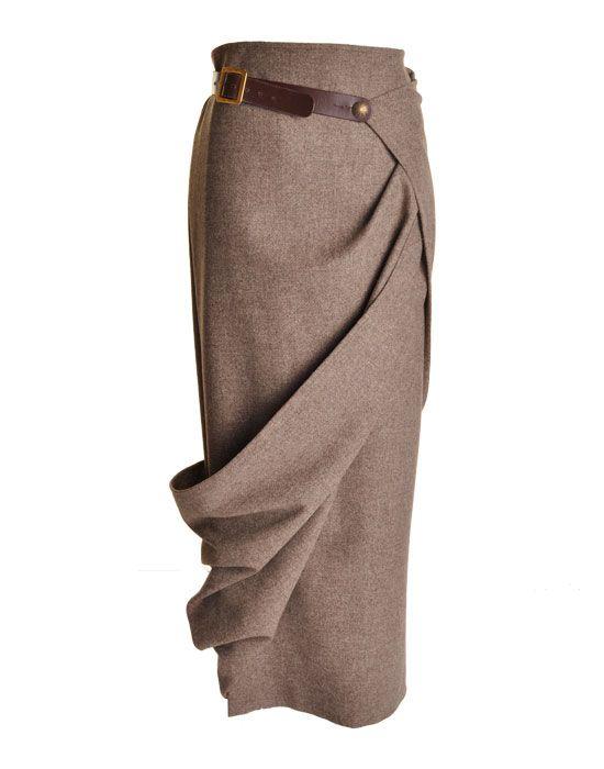 long wrap tweed skirt