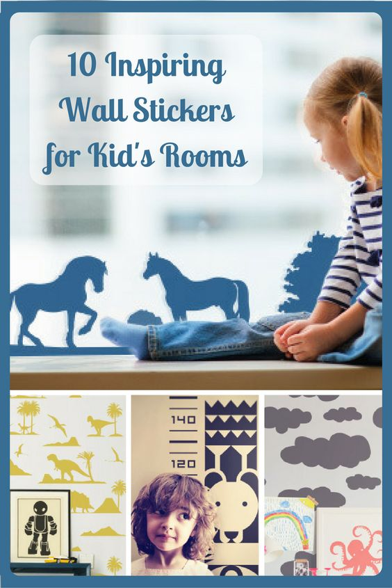Inspiring ideas for decorating kids bedrooms and playrooms with fun wall stickers.