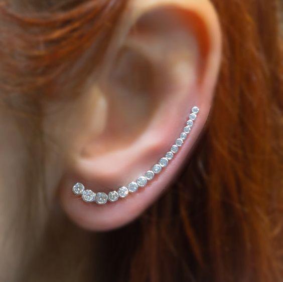 Crawler Earrings Silver Ear Cuff Zircon Ear Cuff by TrendSilver