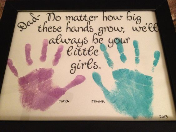 Handprint Art   DIY Christmas Gifts for Family Inexpensive   Handmade Fathers Day Gifts from Kids: