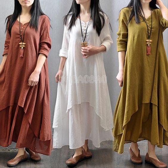 Details about Women Peasant Ethnic Boho Cotton Linen Long Sleeve ...