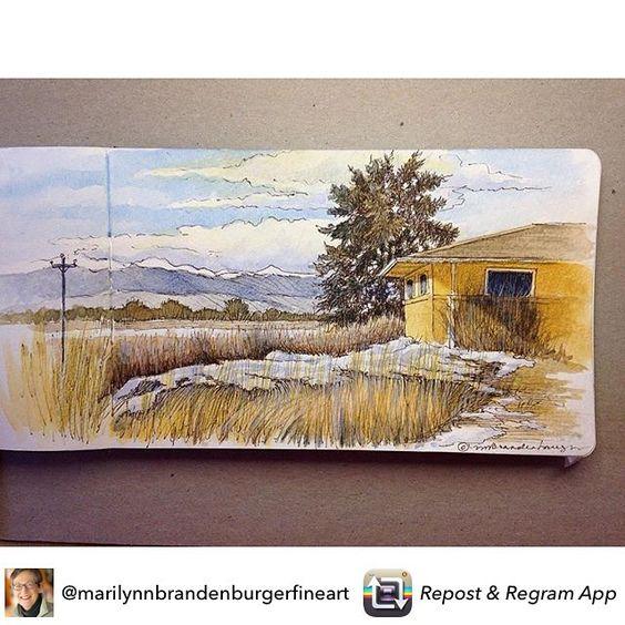 "Repost from @marilynnbrandenburgerfineart ""Ann's View"" - ink & watercolor in Moleskne sketchbook, 5 x 10 #landscapesketching #travelsketching #pleinairpainting #pleinair #sketchoftheday #inkandwatercolor #coloradomountains #Coloradolandscapes #coloradomountainlandscapes #usk #urbansketch"
