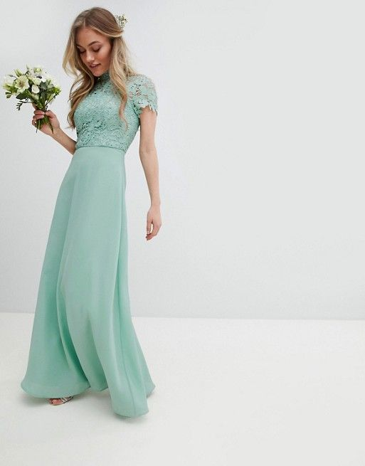 Asos Chi Chi London Petite 2 In 1 High Neck Maxi Dress With Crochet Lace Bridesmaiddresses Bridesmaids High Neck Maxi Dress Maxi Dress Bridesmaid Dresses