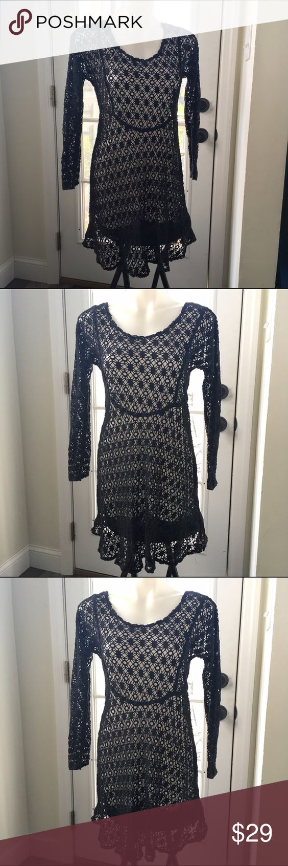 Black Crochet Cut Out Knit Sweater Dress Excellent Preowned Condition Size M/L will not fit XL. There is no inside tag, however this is a quality made piece. Unknown Dresses Midi