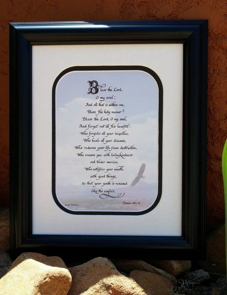 Psalm 103 Bless the Lord O My Soul Bible Scripture Verse in Calligraphy Matted and Framed Gift
