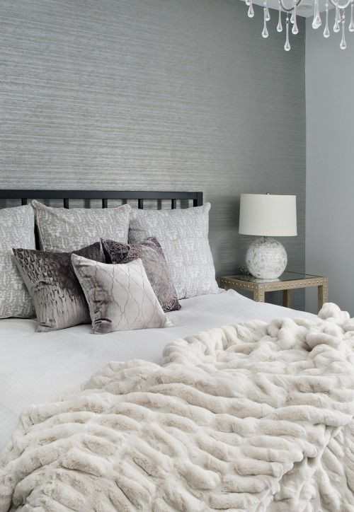 ***White grey contemporary bedroom boudoir