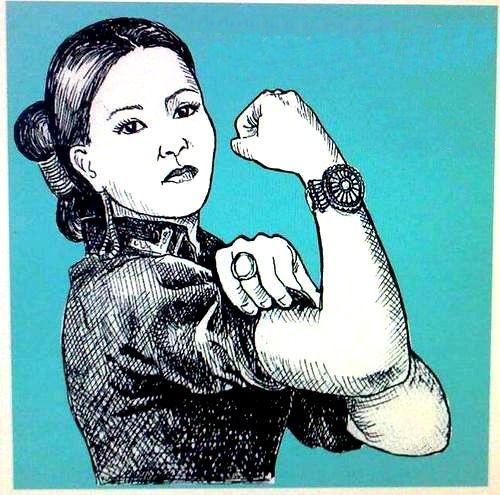 Navajo Woman; I love this comparison with the Navajo woman and Rosie the riveter.
