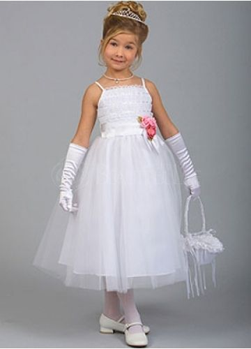 White Lace Spaghetti Straps Sash Flower Girl Dress #wedding www.BlueRainbowDesign.com
