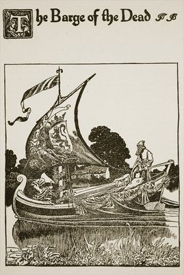 The Barge of the Dead, illustration from 'The Story of Sir Launcelot and his Companions', 1907 Fine Art Print by Howard Pyle