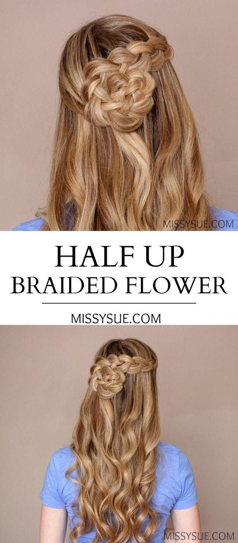 Half Up Braided Flower