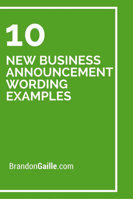 10 New Business Announcement Wording Examples | Business