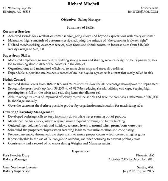 Bakery Manager Resume Sample - http\/\/resumesdesign\/bakery - custodian resume
