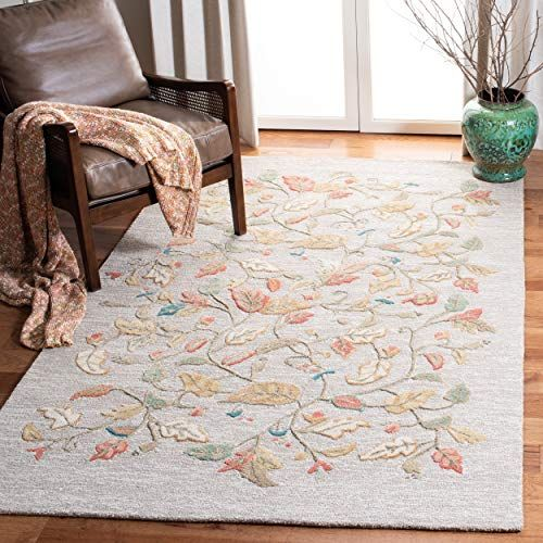 Safavieh Martha Stewart Collection Msr3611a Premium Wool And Viscose Autumn Woods Persimmon Red Area Rug 9 X 12 Area Rugs Chic Rug Green Area Rugs