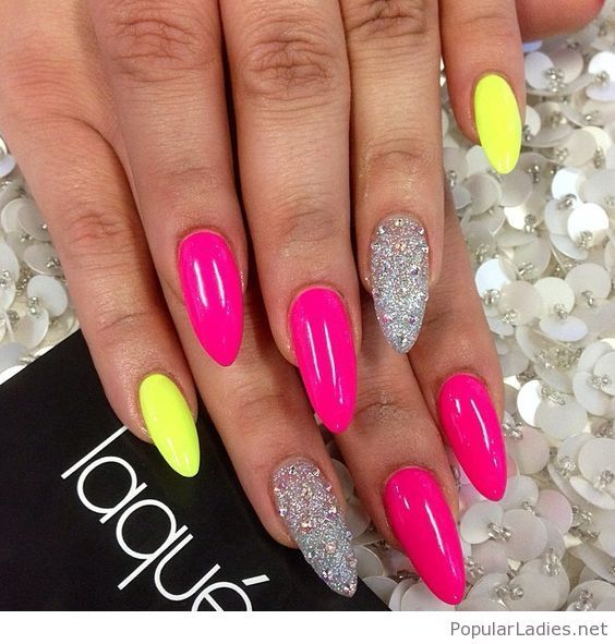 Pink And Yellow Neon Nails With Images Yellow Nails Pink