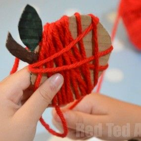 Yarn Wrapped Apples from Red Ted Art