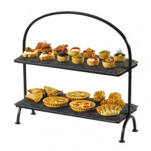 Artis Cake Stand : Rectangular 2 Tier Slate Cake Stand with Iron Frame ...