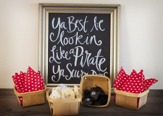 Pirate party - create a station for party-goers to get their pirate accessories!
