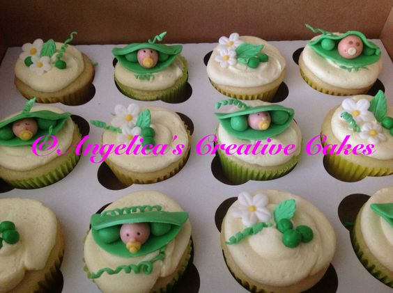 Pea in the pod babyshower cupcakes
