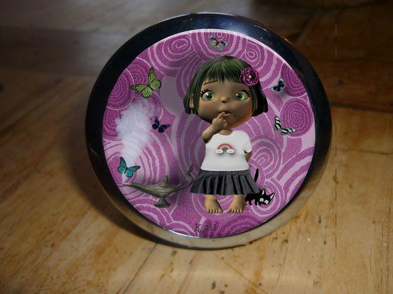 """Miroir de poche double """"la petite fille et la lampe magique"""" Kali-créatrice-original : Autres accessoires par kali-creatrice-original"""
