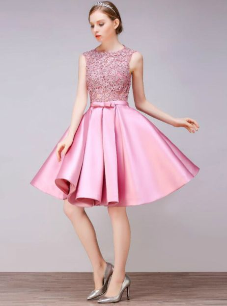 In Stockship In 48 Hours Pink Satin Homecoming Dress Moda