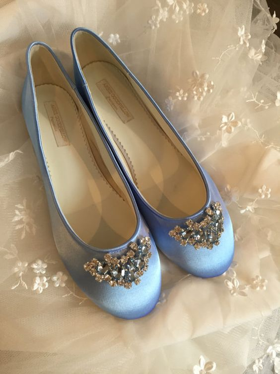 Cinderella Wedding Flats *Dyeable Satin *Embellished with both blue and clear crystals *Comfortable shoes *Choose from over 150 colors