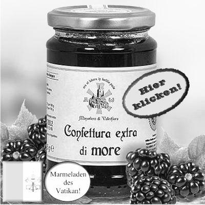 Die Beeren stammen aus dem Monastero di Vallechiara, das seit 1972 besteht. Hier klicken: http://blogde.rohinie.com/2013/01/honig/ #Vatikan #Konfituere #Marmelade #Brombeere