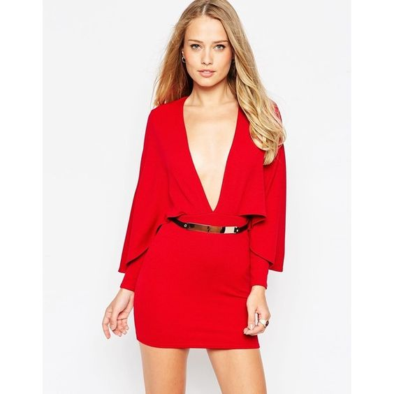 Oh My Love Cape Sleeve Dress With Gold Bar Belt (1,305 MXN) ❤ liked on Polyvore featuring dresses, oxblood, red cocktail dress, waist belt, red body con dress, bodycon cocktail dress and plunging neckline dress