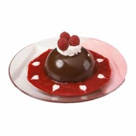 "Chocolate Bombe. Smooth and creamy mousse is hidden within the easy-to-make candy shell. Set on a vibrant raspberry sauce, this dessert is ""dressed to impress."""