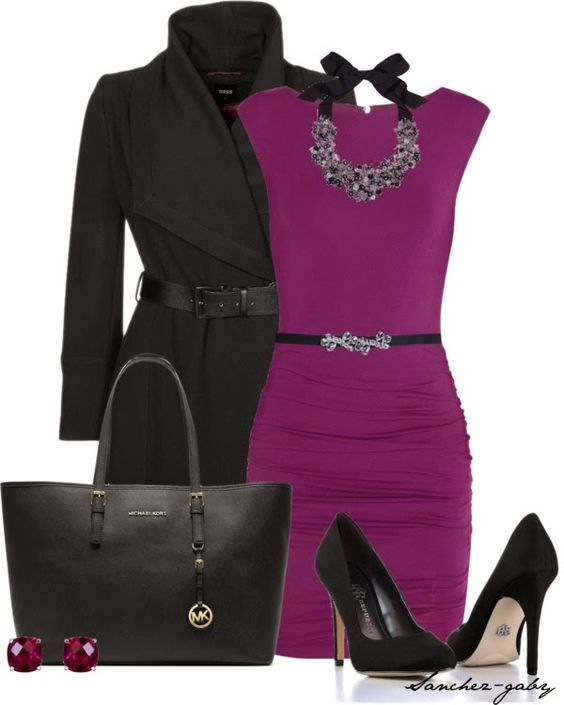 Elegant Outfit: Radiant Orchid, Dressy Outfit, Purple Dress, Winter Outfit, Work Outfits, Orchid Dress, Elegant Outfits