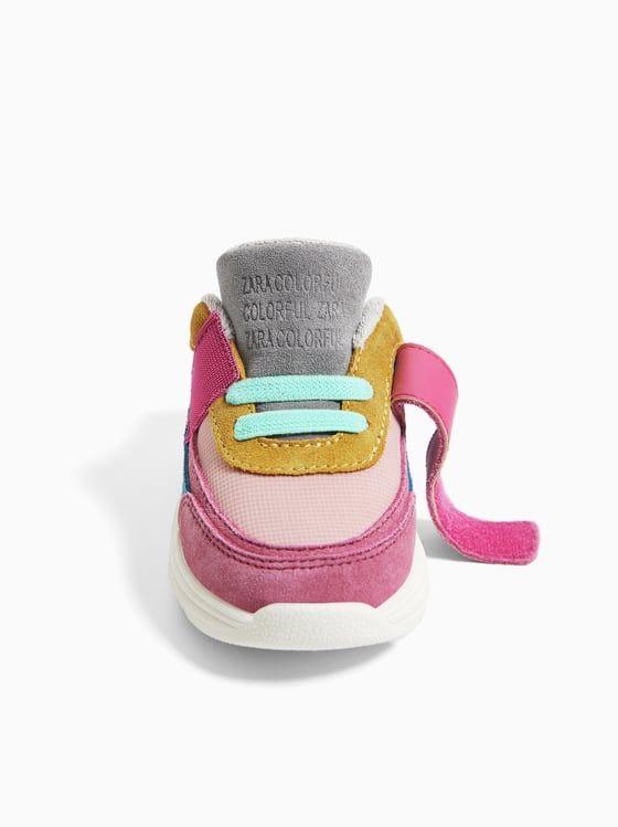 Skorzane Buty Sportowe Z Laczonych Materialow Wiecej Buty Niemowle Dziewczynka 3 Miesiace 4 Lata Dzieci Zara Polska
