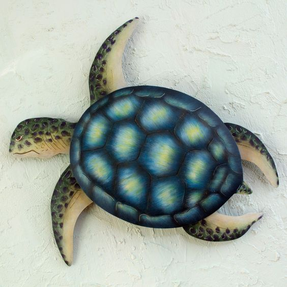 Novica Sea Turtle Indoor Outdoor Patio Garden Green Yellow Turquoise Rustic Handcrafted Animal Decor Accent Wall Art