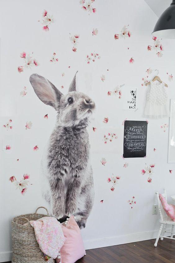 Sticker lapin géant en vinyle pour chambre d'enfant