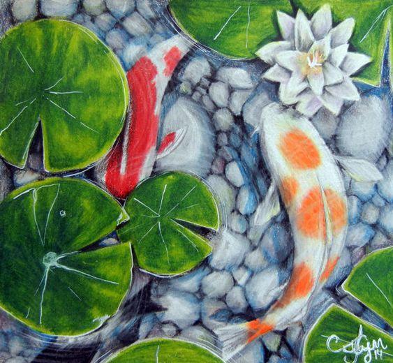 Koi pond original artwork colored pencil artworks for Koi fish pond art
