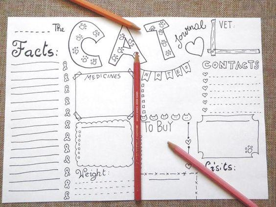 cat bujo journal pet crazy cat lady planner di LaSoffittaDiSte