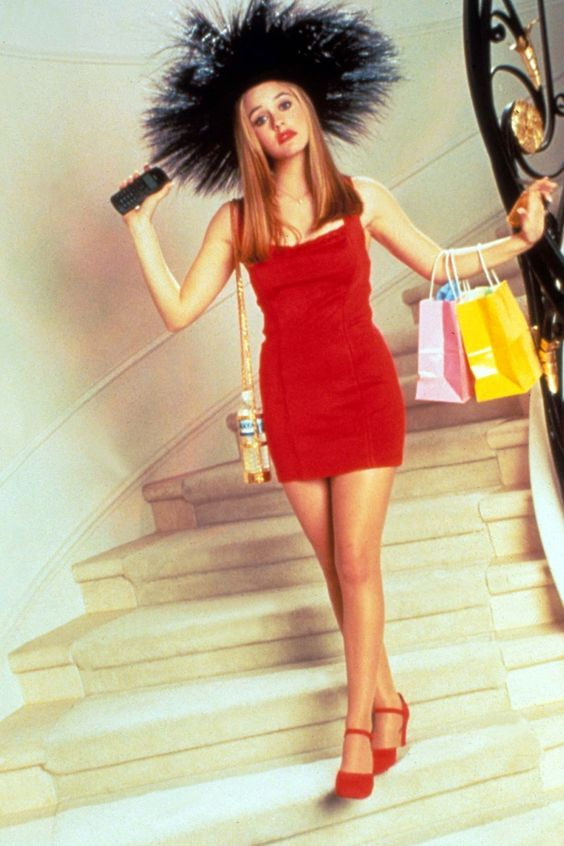Alicia Silverstone dons a red Azzedine Alaia Dress in the 90s film 'Clueless'.