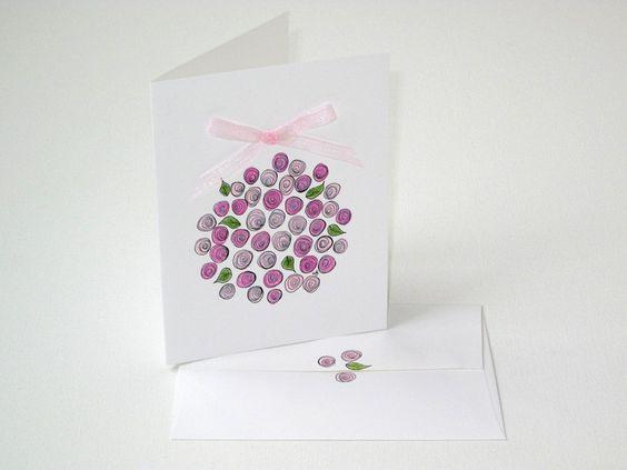 Lovely pink rose flower ball card. $4.75 @ Etsy.