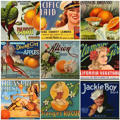 1. type_orange_crates_06.jpg, 2. Pacific Maid Lemons - Fruit Crate Art - Ventura Pacfic Co., 3. type_orange_crates_11.jpg, 4. Vintage Fruit Crate Label 24, 5. Vintage Fruit Crate Label 19, 6. Vintage Fruit Crate Label 21, 7. Vintage Fruit Label/Pinup Illustration--Treasure Chest, 8. Huguet, 9. Jackie Boy
