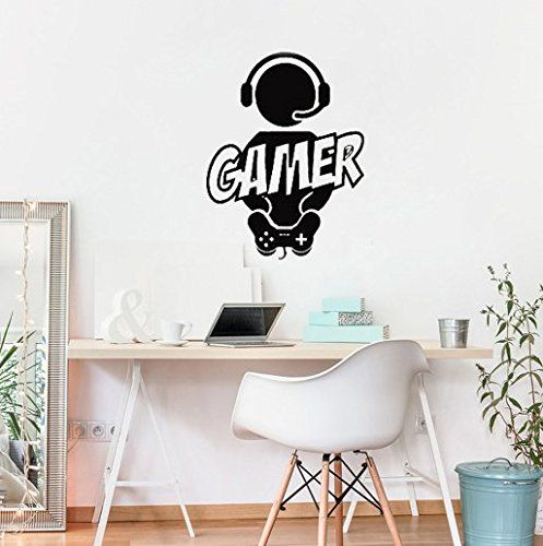 Gamer with Controller Quote Decal Sticker Wall Vinyl Art Design Gamer Cool Funny
