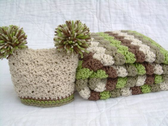Baby Gift Set, Crochet Baby Blanket and Pom Pom Hat Gift Set, Earthy Colors, off white, tan, brown, and green. $50.00, via Etsy.