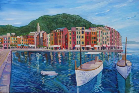 Portofino Mediterranean Pearl Of The Italian Riviera Painting Seascape Paintings Painting Original Paintings