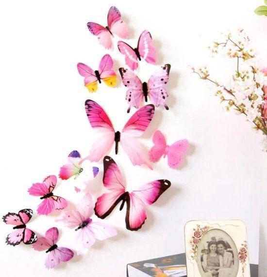 3d Vlinders Muursticker Roze Muurdecoratie Voor Kinderkamer Babykamer Slaapkamer V Butterfly Wall Decals Butterfly Wall Decor Butterfly Wall Stickers
