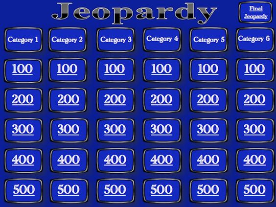 Jeopardy Template - Blank - blank jeopardy template