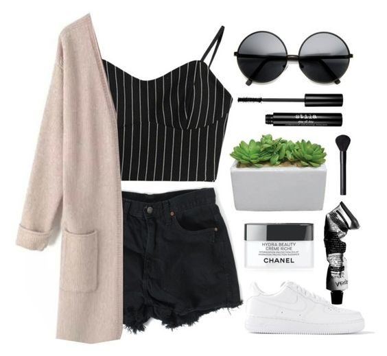 """""""Coffee Shop Outfit"""" by lilyyy24 ❤ liked on Polyvore featuring NIKE, Chanel, Aesop, Stila and NARS Cosmetics"""