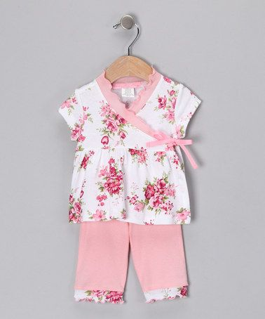 Take a look at this Pink Spring Bouquet Wrap Top & Pants - Infant by Baby Nay Collection on #zulily today!